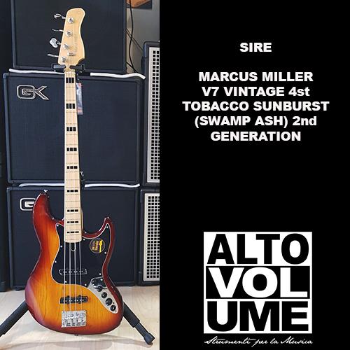 Sire Marcus Miller V7 Vintage 4st TOBACCO SUNBURST (Swamp Ash) 2nd Generation
